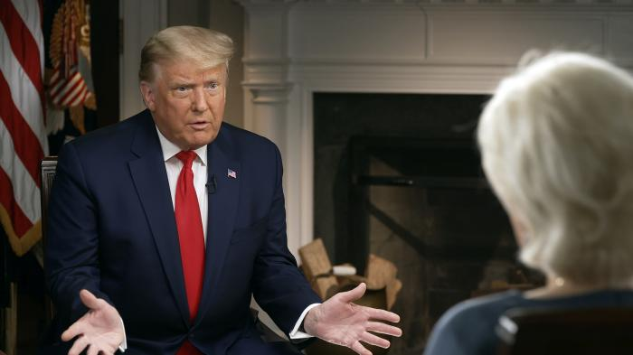 President Donald Trump speaks during an interview conducted by Lesley Stahl in the White House.