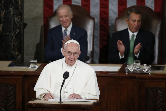 In this Thursday, Sept. 24, 2015 file photo, Pope Francis addresses a joint meeting of Congress on Capitol Hill in Washington