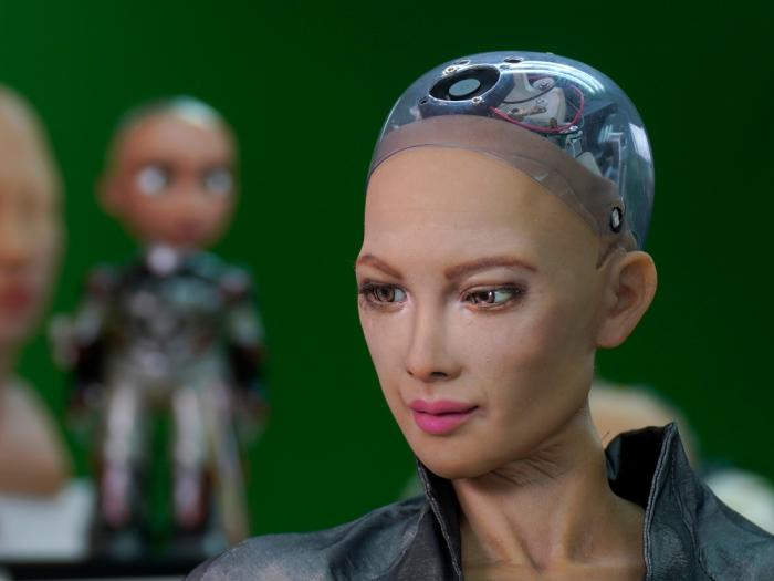 The close-up of the head of Sophia is seen at Hanson Robotics studio in Hong Kong on March 29, 2021