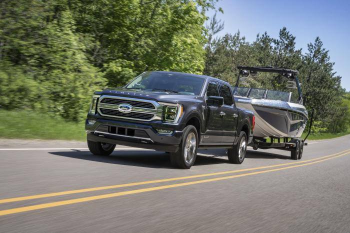 This photo provided by Ford Motor Co. shows the 2021 Ford F-150, which is the Edmunds Top Rated full-size pickup truck