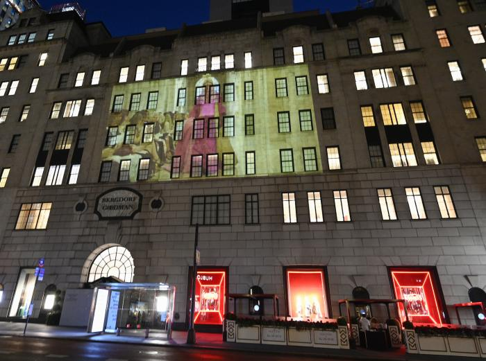 Marc Jacobs fall/winter 2021 fashion show projected on the exterior of Bergdorf Goodman department store.