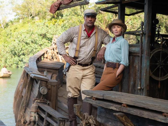 Dwayne Johnson as Frank and Emily Blunt as Lily in 'Jungle Cruise'