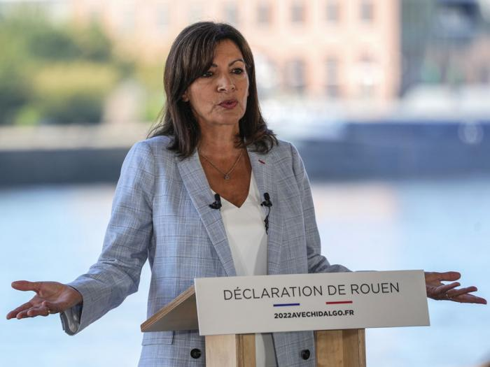 Socialist mayor of Paris Anne Hidalgo gestures as she announced her candidacy for the upcoming presidential election in France next year during a meeting in Rouen, Normandy, Sunday, Sept. 12, 2021